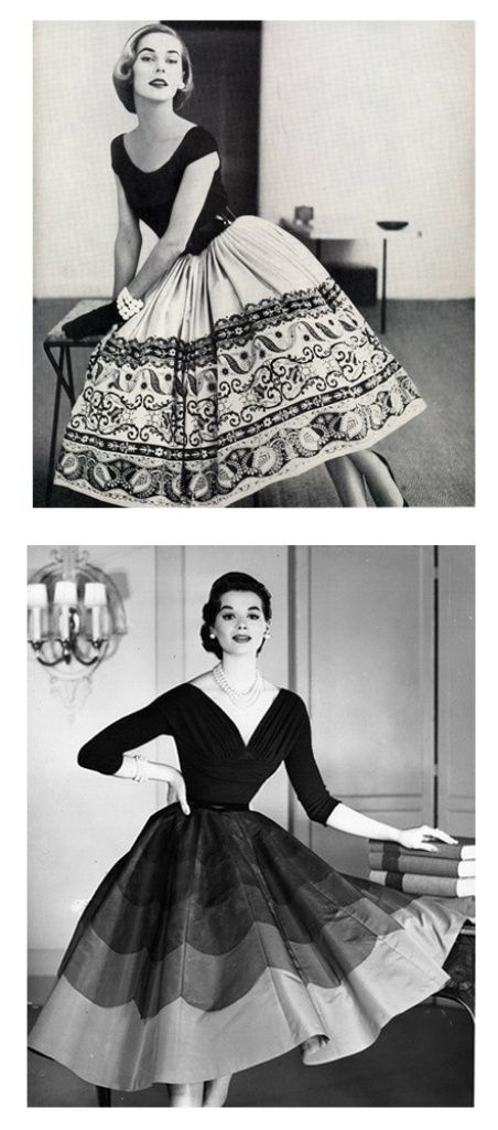 1) Peck & Peck 1952, dress by Nelly De Grab - photo by Tom Polumbo.  2) Saks Fifth Avenue fashion publicity, 1954.