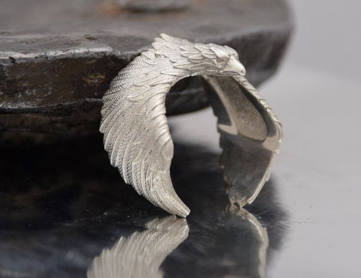 Sterling Silver 925 Eagle 3D Wings Figurine Wrap Ring Detailed