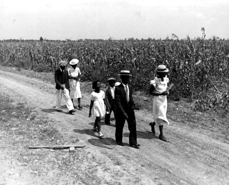 There are 8 photos of this family - Sharecropper Lonnie Fair and his family walking to church along a country road. Photograph by Alfred Eisenstaedt. Scott, Mississippi,1936.