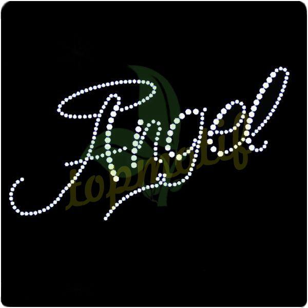 Angel lettering crystal heat transfer for dresses
