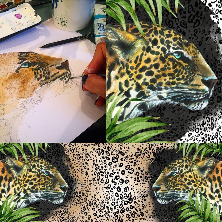 making of #releasethebeast #daretogodouble artwork for the #limitededition #scarfs #pashmina for @magic_algida  #icecream #leopard #leopardprint #art #artist #greece (www.carolinerovithi.com) #magicicecream