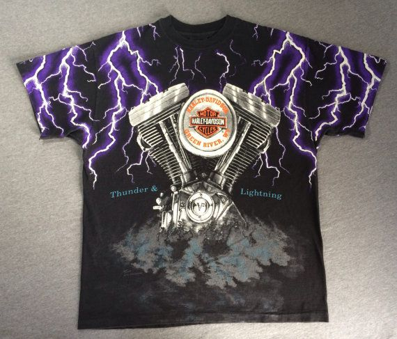 HARLEY DAVIDSON Tshirt 90's/ Rare THUNDER & by sweetVTGtshirt, $85.00