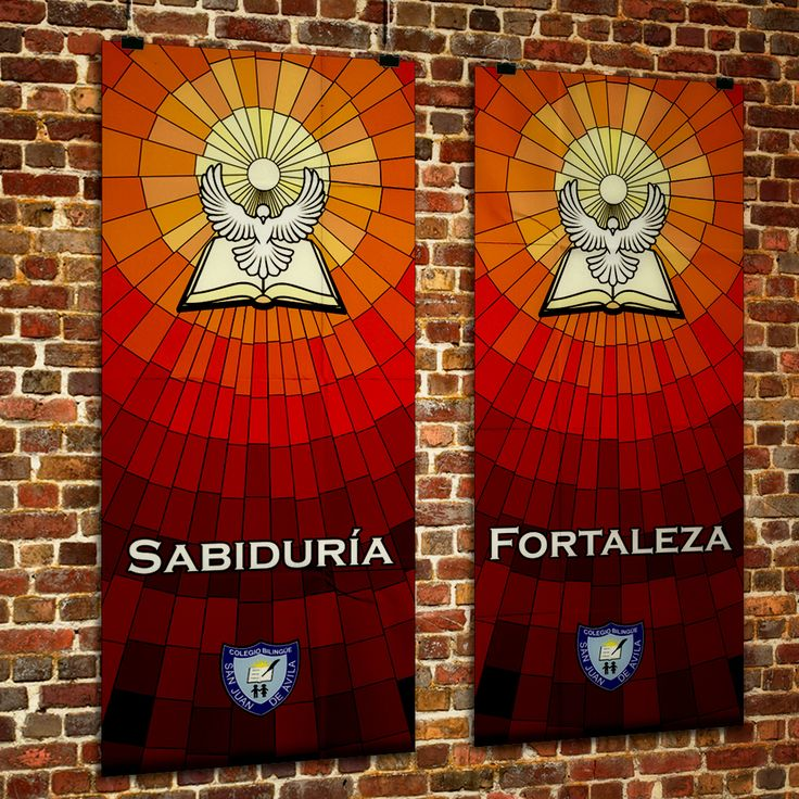 Serie de impresiones en gran formato con los 7 dones del Espíritu Santo, realizados para decorar la ceremonia de Confirmaciones del Colegio Bilingüe San Juan de Ávila.