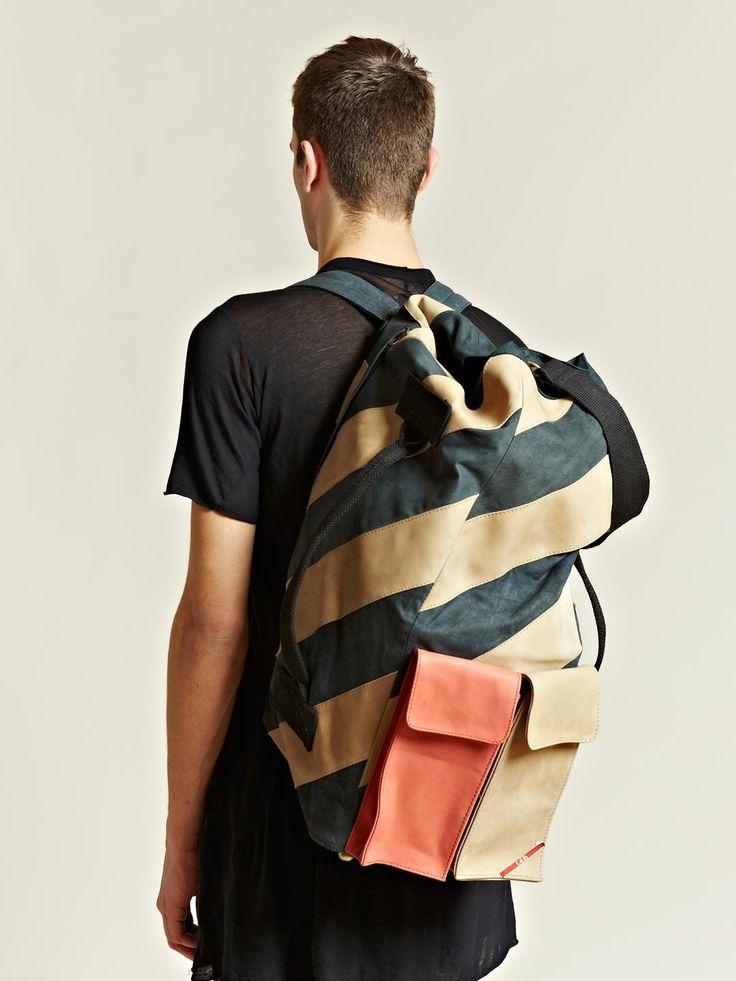 LEH Men's Oversized Leather Duffle Back Pack | LN-CC