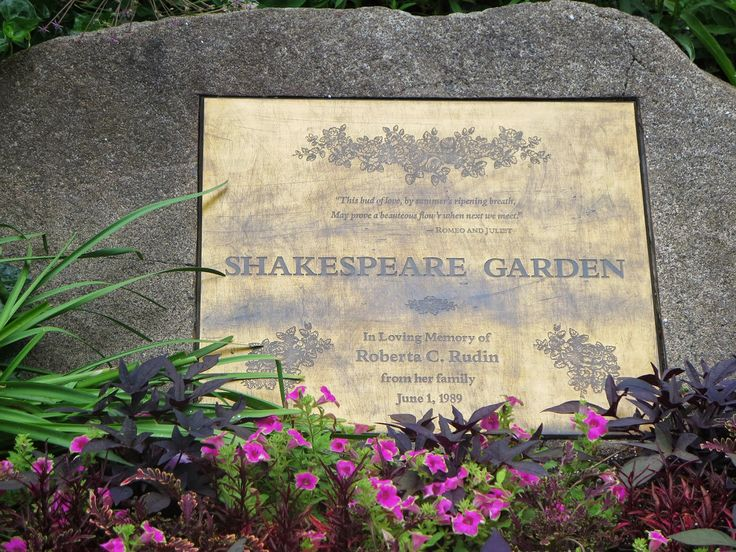 Shakespeare Garden Has Plaques Throughout With Quotes From