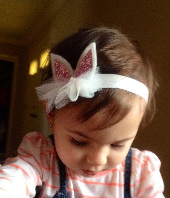 Easter bunny glitter ears headband baby by babyyourbabyboutique