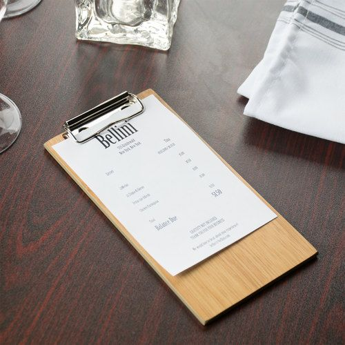 """American Metalcraft BB8 8"""" x 4 1/2"""" Bamboo Wood Menu Holder / Check Presenter with Clip"""