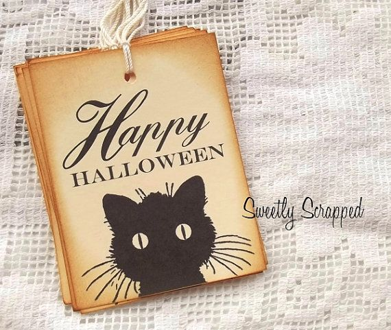 Black Cat Happy Halloween Tags Vintage Tags by SweetlyScrappedArt