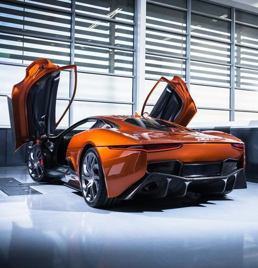 She's pretty... Jaguar C-X75 supercar which will be the stunt vehicle in the new James Bond movie Spectre