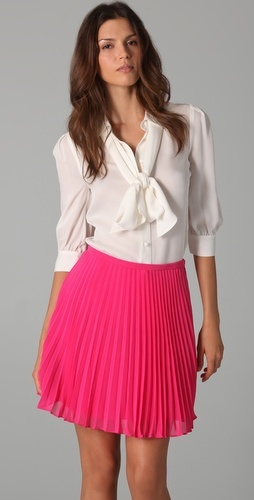 Halston Heritage: ivory silk removable tie blouse and pink pleated silk skirt!