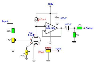Headphone    Amplifier 6DJ8  ECC88   IC OPA2134 circuit   circuits   Circuit  Circuit    diagram