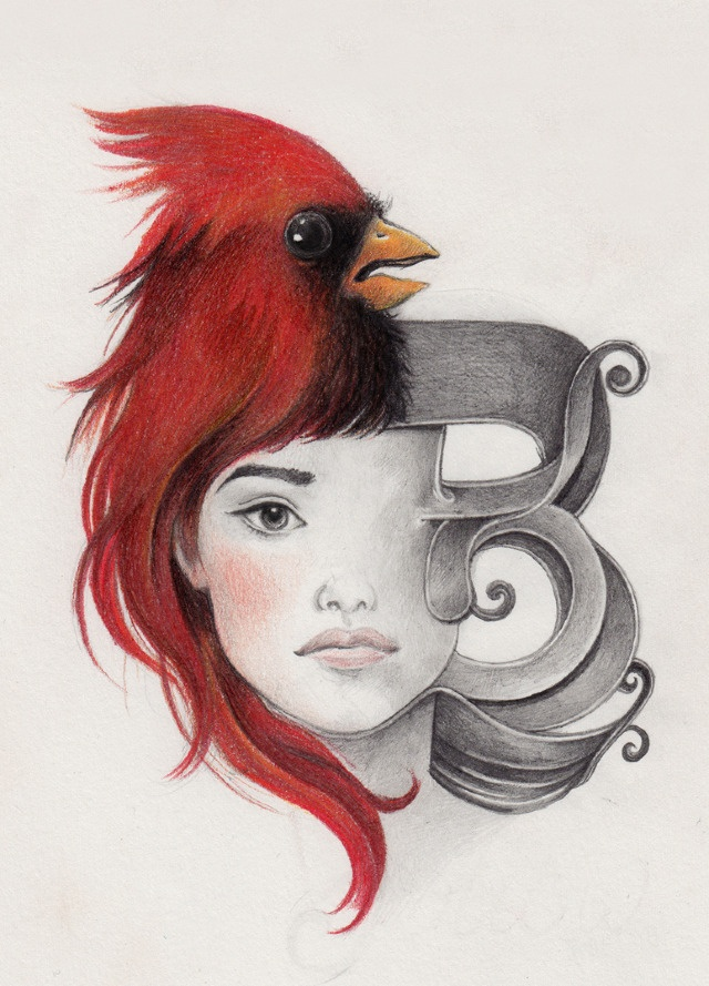 Face/Bird/Letter study by Laura Serra. #typography #illustration #lettering
