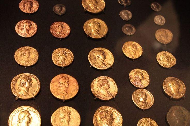 Roman coins found at Roman Vindolanda, on display at the Chesterholm Museum