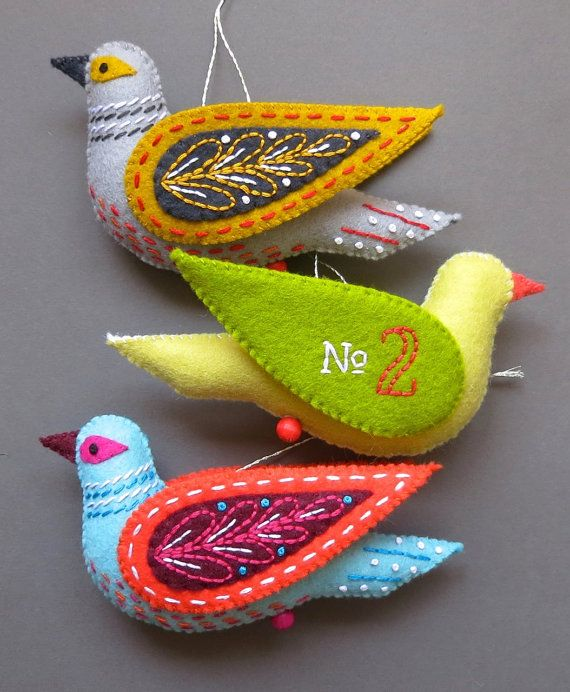 Turtle Dove PDF pattern a hand sewn wool felt by mmmcrafts on Etsy. 12 Days of Christmas Felt Ornaments.
