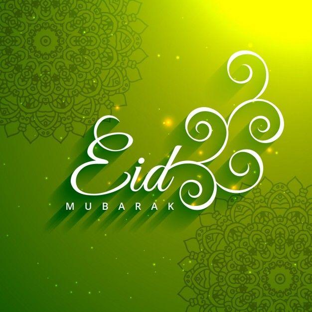 Fondo verde con texto creativo de eid mubarak Vector Gratis