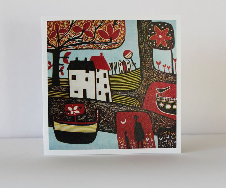 Greetings Cards, Original Art Card, Birthday Card, Blank Card Set of Five, Christmas Gift Card, Thank you Card, landscape Linocut Print Card by Laylart on Etsy