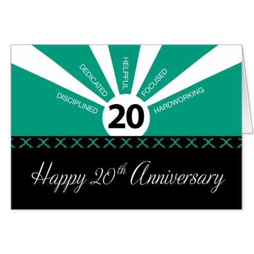 20th Year Business Employee Anniversary Green Card