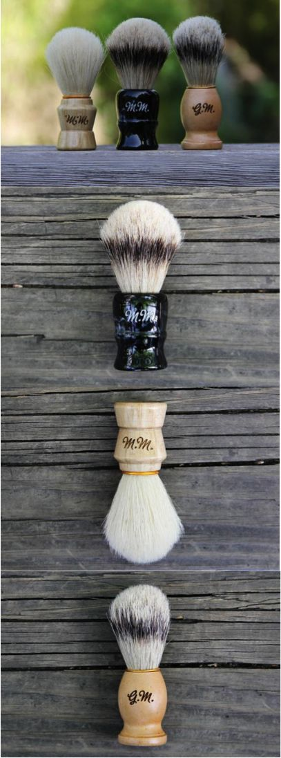 Personalized Men's Wood Shaving Brush by mini-Fab   Hatch.co   If you're going to shave like your grandpa, you will need a proper brush to lather up. This classic boar's hair or Silvertip Badger shaving brush will soften and lift your beard, help with trapped hairs, and gently exfoliate your skin in preparation for a razor. A necessary accessory for a clean and close shave.  Includes a tortoise shell acrylic stand and a personalized gift box.  We offer FREE engraving/etching.