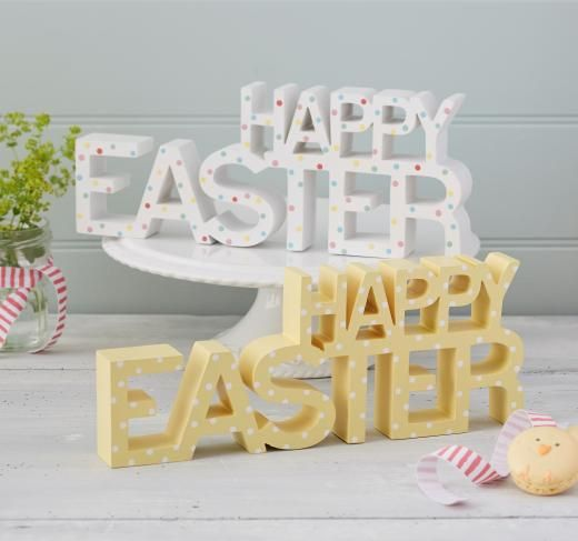 211 best easter images on pinterest rabbits backen and blessings gisela graham yellow or white polka dot wood happy easter ornament 1200 a negle Choice Image