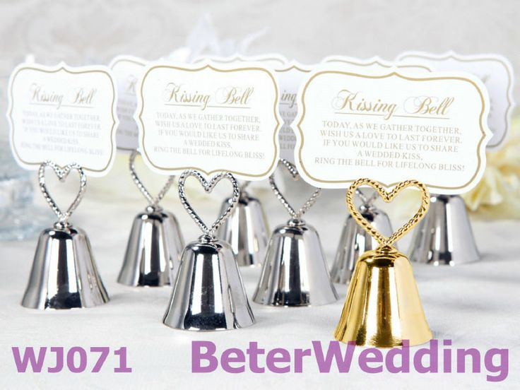 Heart Topped Kissing Bell Place Card Photo Holders Set Of