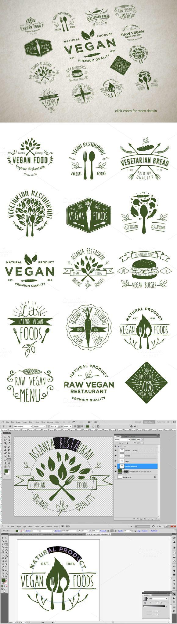 15 Vegetarian Foods Badges by alit_design on @creativemarket