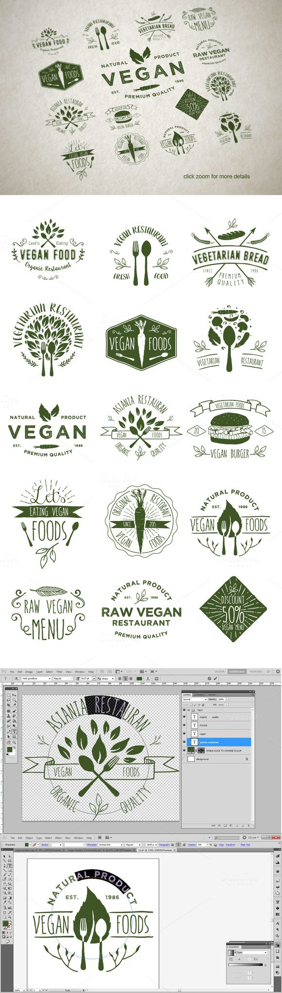 15 Vegetarian Foods Badges by alit_design on Creative Market