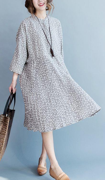 2017 summer floral cotton dresses plus size causal cotton sundress gray pleated dresses
