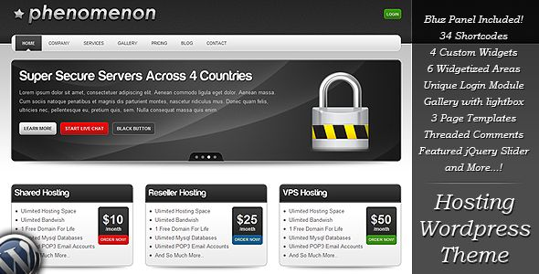 Phenomenon - Premium Hosting Wordpress Theme  #themeforest