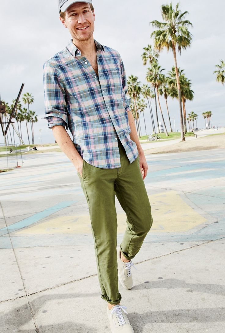 J.Crew men's slim secret wash shirt in heather poplin red-and-blue plaid, garment-dyed cotton oxford pant in 770 fit and Vans® for J.Crew Old Skool sneakers in suede.