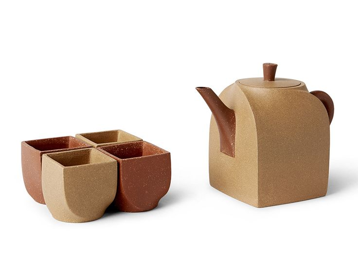Two Color Square Tea Set from Spin Ceramics