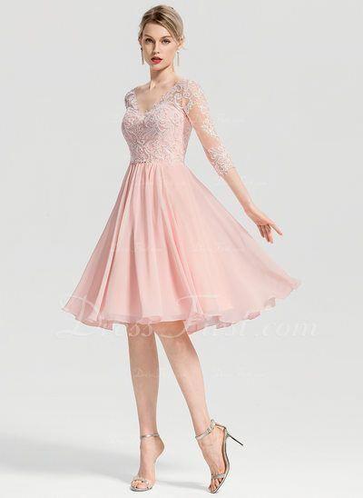 70e1c17f09a0c1 A-Line V-neck Knee-Length Chiffon Cocktail Dress With Beading (016155115
