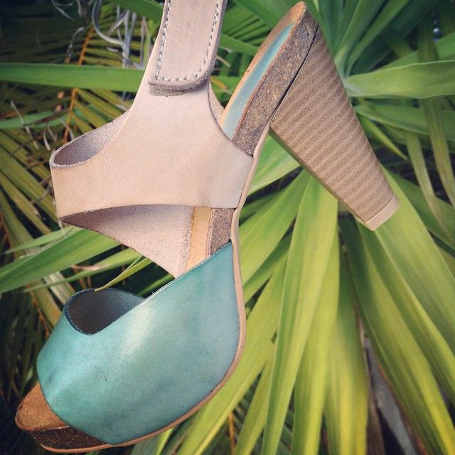 Turquoise and taupe leather heel sandal. Vaquetillas. Made in Spain. www.pasionshoes.com.au