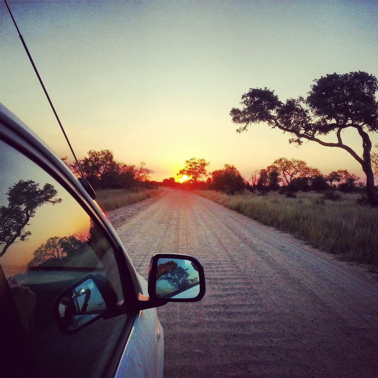 Driving into the sunset in Kruger National Park, South Africa