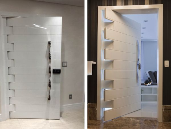 modelos de portas de entrada modernos pivotantes laca tendencia