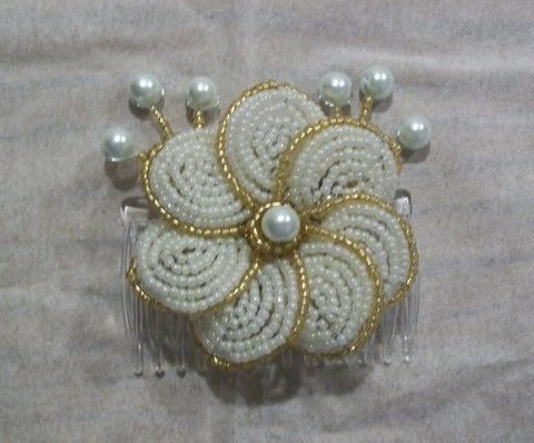 Gold & Ivory French Beaded Flower Hair Comb. $19.00, via Etsy.
