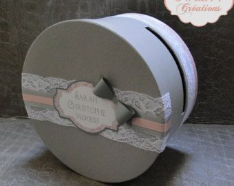 Urne mariage ronde avec noeud et dentelle