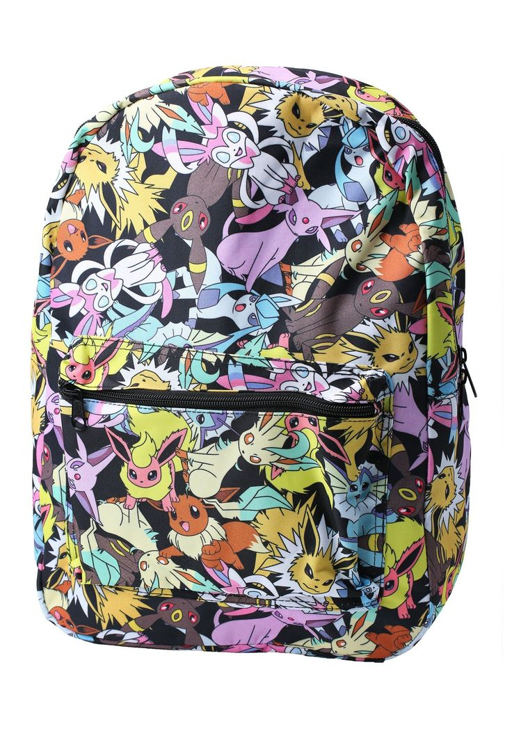 Pokemon Eevee Evolution All Over Prints School Backpack Bioworld. Size: Standard. Pokemon Eevee Evolution All Over Print Backpack. Polyester canvas construction with zipper closures. Length-adjustable padded shoulder straps. All-over print of various Pokemon characters.