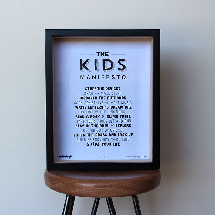 Kids Manifesto Encourage the kids to get out there! Explore, enjoy life, not sit in front of the tv or iPad. These will be on sale at Millthorpe Markets on Sunday 6th Dec. #frames #manifesto #kidsart #enjoylife #gifts