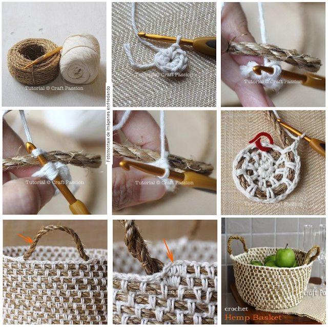 crochet and rope basket - picture tutorial. enrHedando: Como combinar Crochet con Cuerda. Tecnica