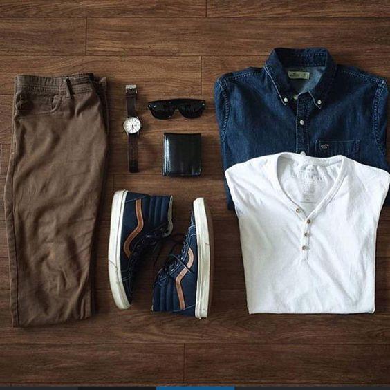 Camiseta Henley, Calça Marrom masculina, Vans, Camisa Jeans, Calça Marrom Masculina, dicas para usar e inspirar
