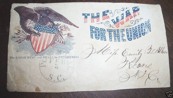 "Beautiful and rare Civil War patriotic cover/envelope with Confederate territorial cancel of Feb. 3, 1862 from Port Royal, South Carolina stating ""The Union Must and Shall be Preserved""."