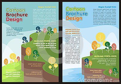 Cartoon Flyer - Brochure Lovely design and cute color with nature and landscape background theme