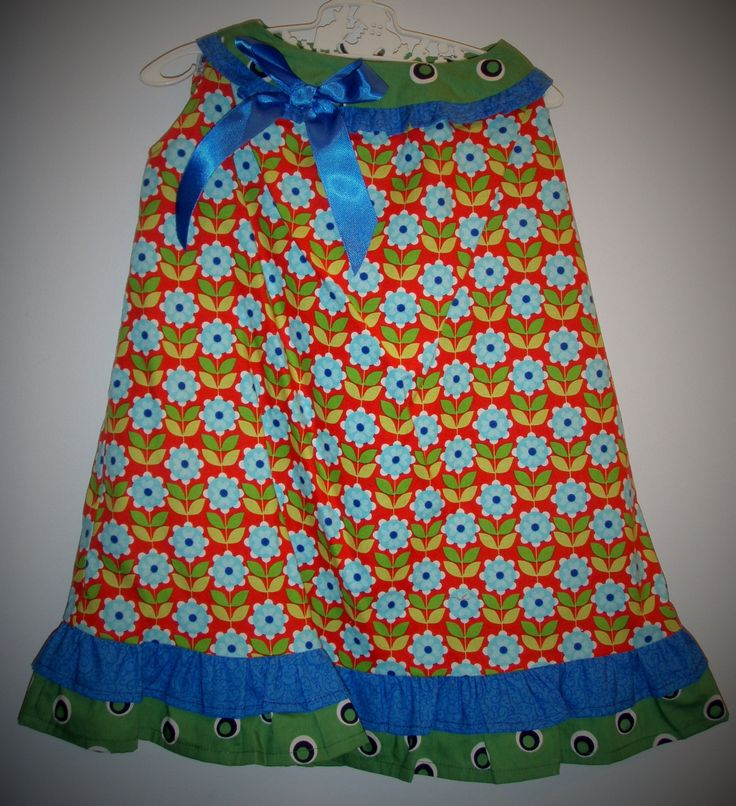 Girl's size 1 baby dress, matching bloomers, blue bow, baby present, outfit, frills, flowers, unique, handmade, vintage by LittleLarkClothing on Etsy