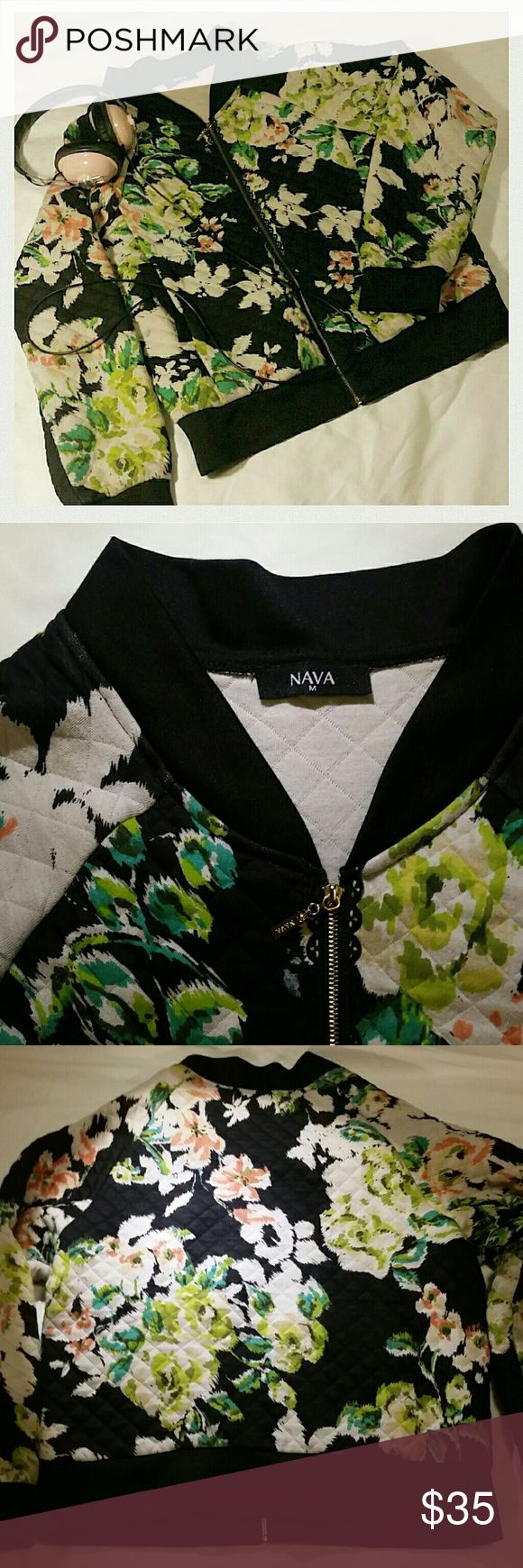 Cute floral zip up quilted hoody jacket Cute quilted type fabric with floral print, small cute black lace detail by zipper (see 2nd picture) Jackets & Coats