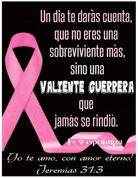 """Dedicado a todas las mujeres que luchan contra el cáncer de mama, a todas las familias que resisten a su lado,   """"Un día te darás cuenta, que no eres una sobreviviente mas, sino una valiente guerrera que jamás se rindió"""
