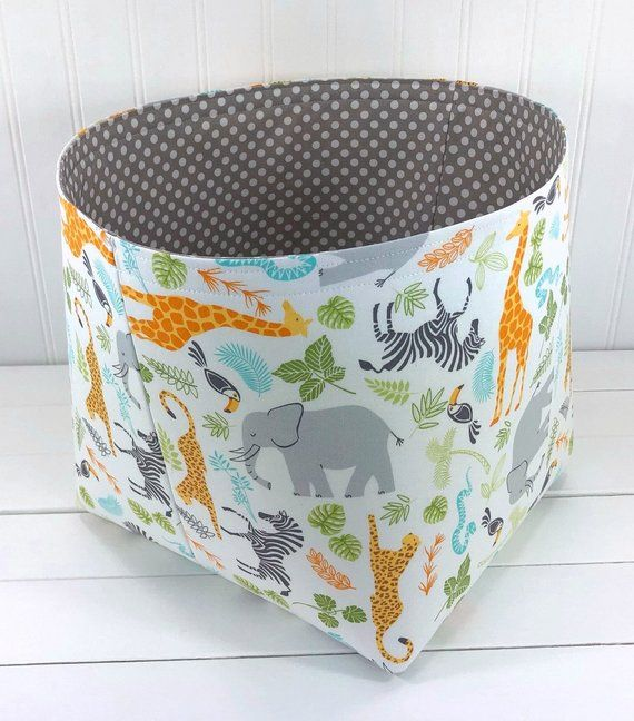 Safari Storage Basket Fabric Storage Bin Organizer Basket Etsy Fabric Storage Bins Storage Baskets Fabric Storage Baskets
