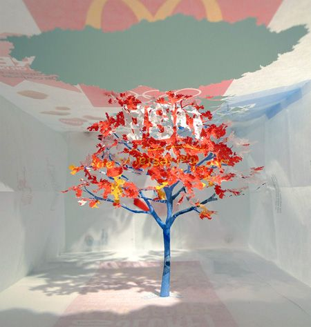 """Miniature paper trees created by talented Japanese artist Yuken Teruya. Beautiful trees with delicate tree branches and leaves were cut out and folded inside of McDonald's paper bags and other shopping bags."" Click through for more examples! This one makes me think of Shaun Tan's stunning book The Red Tree."