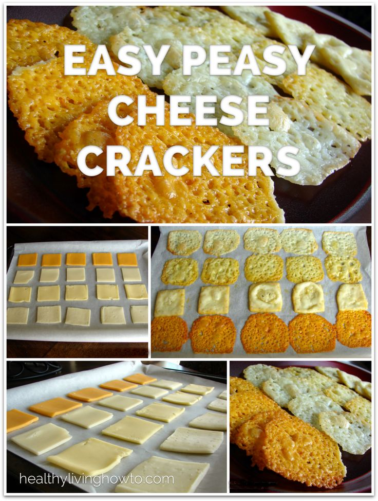 Easy Peasy Cheese Crackers   healthylivinghowto.com  So easy and so good. Slice cheese. Bake. Enjoy.