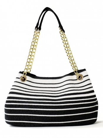 Black and white graduated strip straw bag with gold chain handle straps. Center zipper pocket. Interior zipper pockets with two additional non zipper pockets. Snap closure. 14 inch length x 9 inch height x 5 inch depth. 10 inch drop from handles.