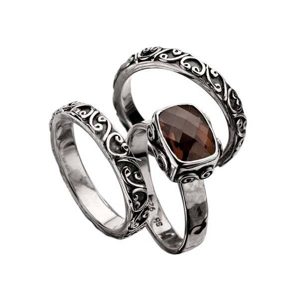 Sara Blaine Signature Lace Smoky Quartz Ring Set (£155) ❤ liked on Polyvore featuring jewelry, rings, accessories, smoky quartz ring, lace ring, band jewelry, smoky quartz jewelry and lace jewelry
